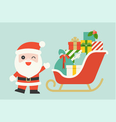 cute santa claus with pile of gift boxes vector image
