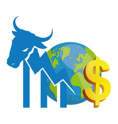 Financial wall street bull world money vector