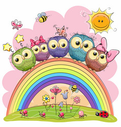 Five owls on the rainbow vector