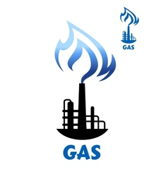 Gas production plant silhouette with blue flame vector