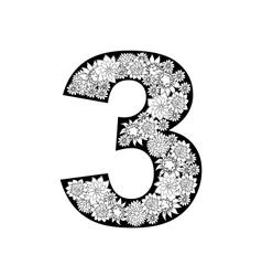 Hand drawn floral alphabet design Digit 3 vector image