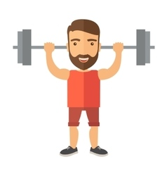 Handsome man lifting a barbell vector