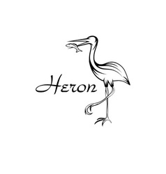 Heron bird with fish in outline style vector image