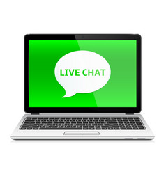 Laptop with live chat vector