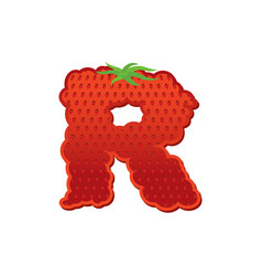 letter r strawberry font red berry lettering vector image vector image
