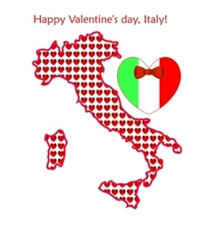 Map of Italy with flags and hearts vector image vector image