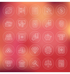 Money finance banking circle line icons set vector