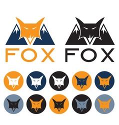 mountain fox design template and web icons vector image