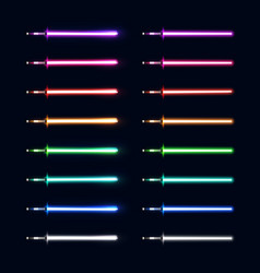 Neon light swords set colorful sabers collection vector