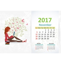 nice young woman is reading a book fun Calendar vector image