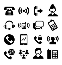Phone and call center icons set vector