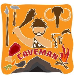 poster of paleo food and caveman theme vector image
