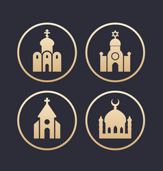 Religion buildings icons set vector
