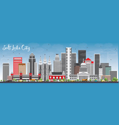 Salt lake city skyline with gray buildings and vector