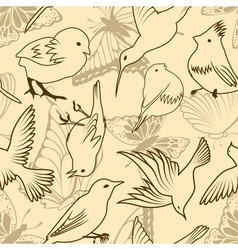 seamless bird and butterfly pattern vector image vector image