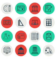 Set of 16 school icons includes paper college vector
