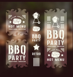 set of barbecue labels and flyers vector image