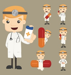 Set of doctor characters poses with the pill vector image