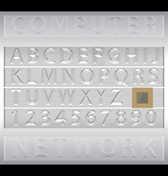 Techno alphabet letters and numbers vector image vector image