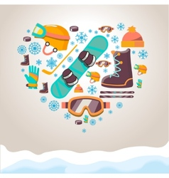 Winter Sports equipment background vector image vector image