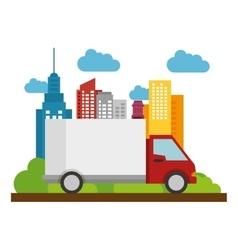 Truck delivery business town icon vector