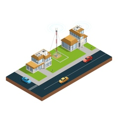 City wireless communication isometric composition vector