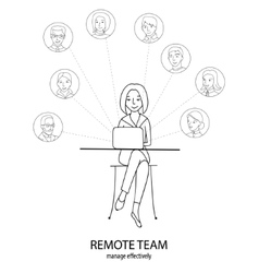 Remote team concept vector