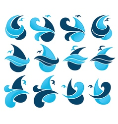 Water drops and sea symbols vector