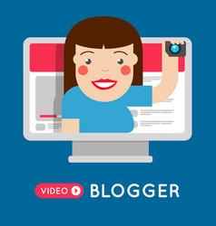 Fashion video blogger girl broadcasting vector