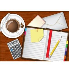 Daily planner coffee and stationery vector