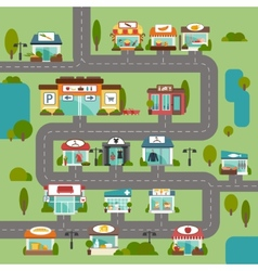Store building road vector