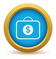 Gold bag with dollars icon vector