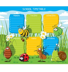 School timetable insects vector