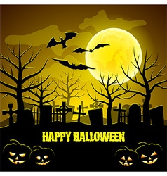 Graveyard and pumpkins halloween background vector