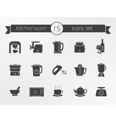 Kitchenware silhouette icons set vector