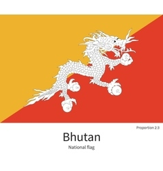 National flag of bhutan with correct proportions vector
