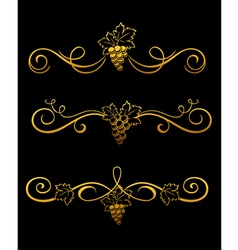 golden grape borders vector image