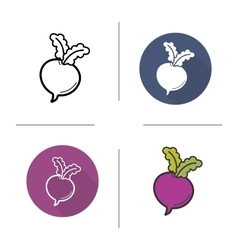 Beetroot flat design linear and color icons set vector