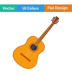 Flat design icon of acoustic guitar vector