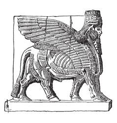 An assyrian winged bull vintage vector