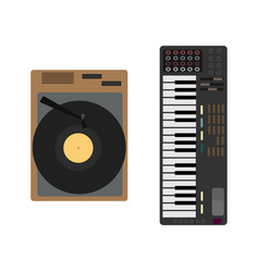 Cartoon musical instrument set gramophone vector