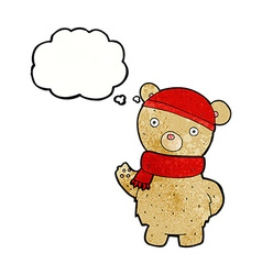 Cartoon teddy bear in winter hat and scarf with vector