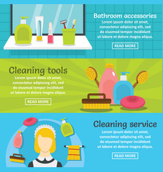 Cleaning hygiene banner horizontal set flat style vector