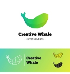 Creative low poly green whale logotype big vector