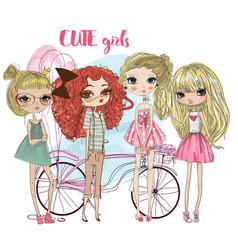 cute cartoon hipster girls vector image vector image