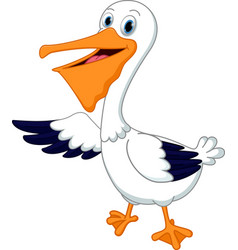 cute pelican cartoon waving hand vector image vector image