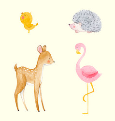 Cute watercolor animal set vector