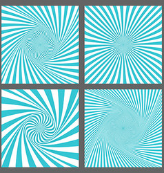 Cyan spiral and ray burst background design set vector image