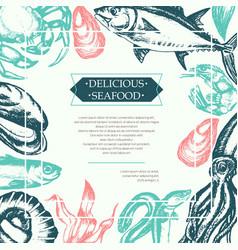 delicious seafood - color vintage postcard vector image vector image