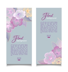 Floral banners transparent flowers vector
